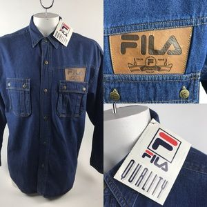 Vtg Deadstock FILA Denim Jean Shirt w/Leather pat